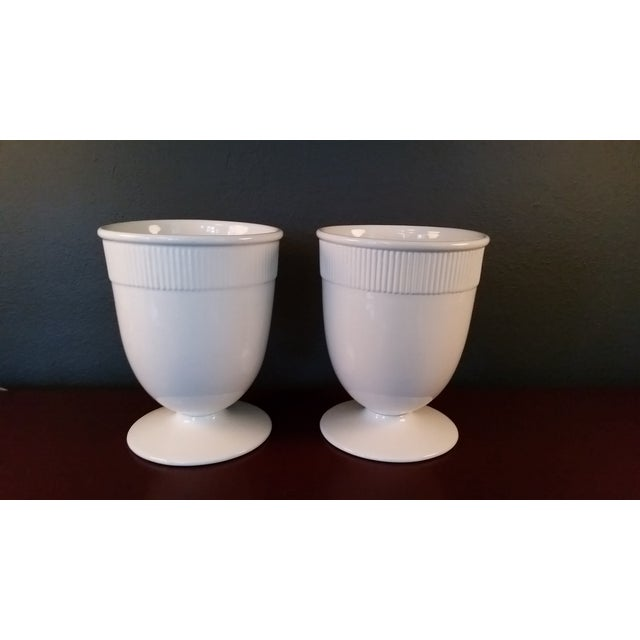 Barbara Barry Small Banded Ceramic Vases - Pair - Image 2 of 4