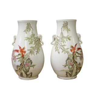 Pair Chinese Oriental Ceramic White Flower Bird Vase