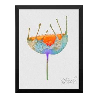 Aqua & Orange Botanical Watercolor Print