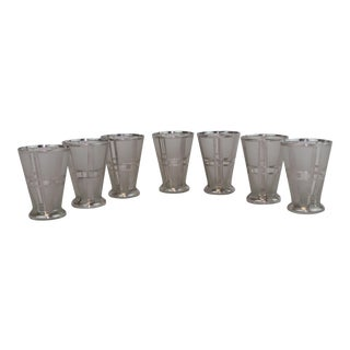 Art Deco Sterling Silver Overlay Cocktail Glasses - Set of 7