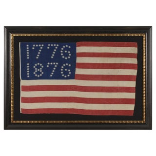 """ANTIQUE AMERICAN FLAG WITH 10-POINTED STARS THAT SPELL """"1776-1876"""", MADE FOR THE 100-YEAR ANNIVERSARY OF AMERICAN INDEPENDENCE"""