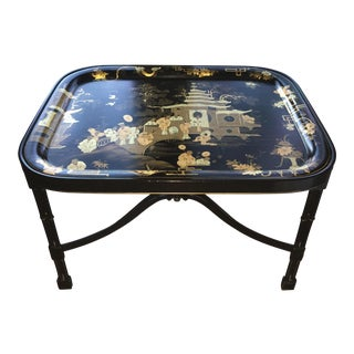 Fine Tole Tray Coffee Table in Black/ Gold, Alfred Gignery Paris