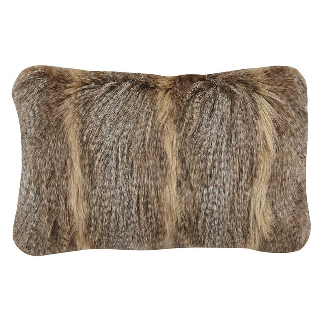 Brown Faux Fur Pillows - A Pair - Image 1 of 3