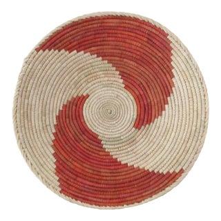 Hand Woven Red Swirl Basket