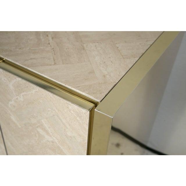 Ello Polished Travertine & Brass Credenza - Image 8 of 10