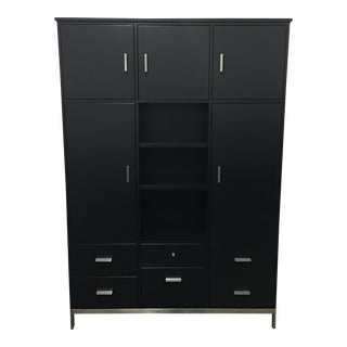 Room & Board Black Satin Lacquered Office Credenza from the Linear Collection