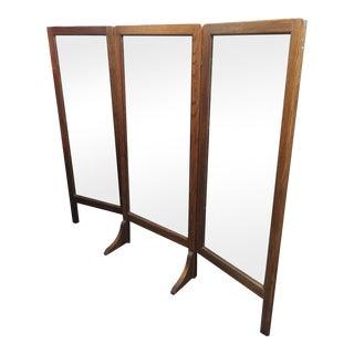 Arts & Crafts Oak Free Standing Mirror