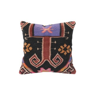 Lilac & Black Turkish Kilim Cushion