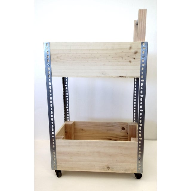 French Wine Box Industrial Bar Cart - Image 5 of 11