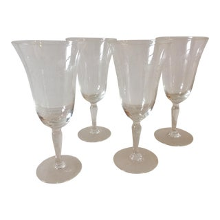 Vintage Etched Sherry Wine Glasses - Set of 4
