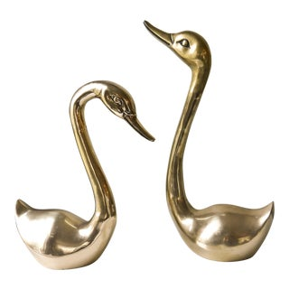 Hollywood Regency Life Size Brass Swans - A Pair