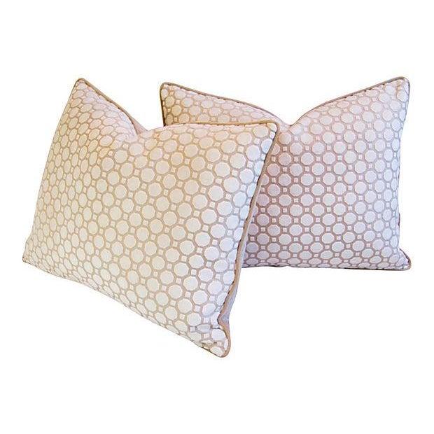 White Velvet Geometric Pillows- A Pair - Image 7 of 7