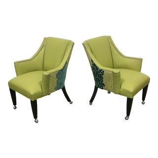 Leather & Velvet Roller Chairs - a Pair