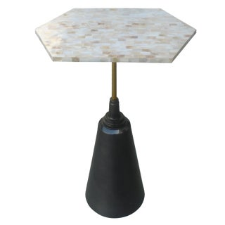 Mother-of-Pearl Top & Aluminum Side End Table