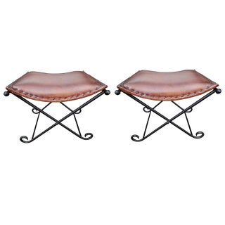Art Deco Leather and Iron Benches - A Pair