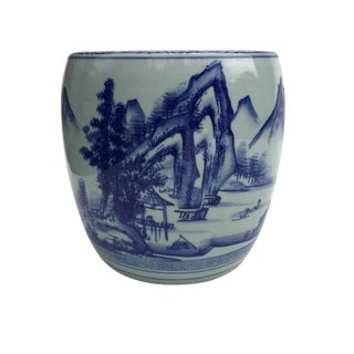 Vintage Chinoiserie Planter Celadon & Cobalt Blue Hand Painted Tall Planter