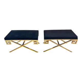Gold Tone Metal And Black Contemporary Greek Key Benches Or Footstools - a Pair