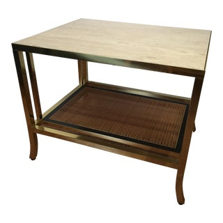 Brass & Travertine Side Table Baker Mastercraft