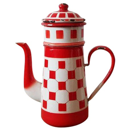 Image of Red French Vintage Enamelware Coffee Pot