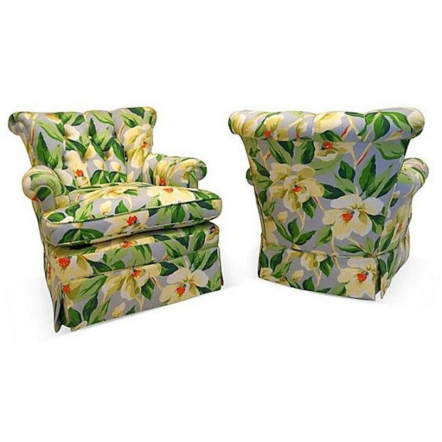 Vintage 1940s Magnolia Print Armchairs - A Pair - Image 3 of 5