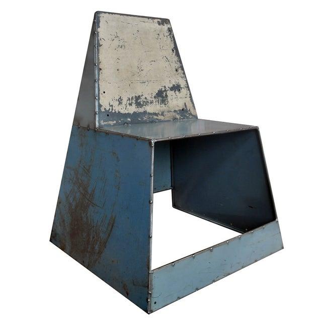 "Blue Metal ""Shoebox"" Chair - Image 1 of 6"