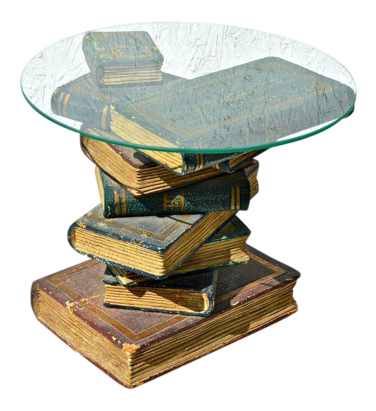 Faux Book Stack Side Table