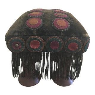 Folk Art Velvet Hand Made Footstool
