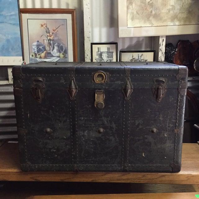 Vintage Leather Handle Steamer Trunk - Image 2 of 9