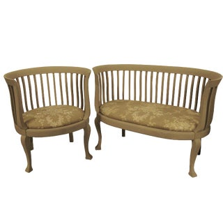 Gustavian French Farmhouse Settee & Chair - A Pair