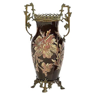 Antique French Art Nouveau Floral Majolica Vase