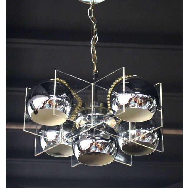 Lucite and Chrome Domes Mid-Century Modern Light Fixture - Image 2 of 7