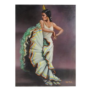 1970's Flamenco Dancer Oil Painting