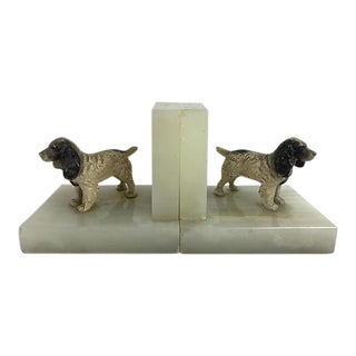English Stone Dog Bookends - a Pair