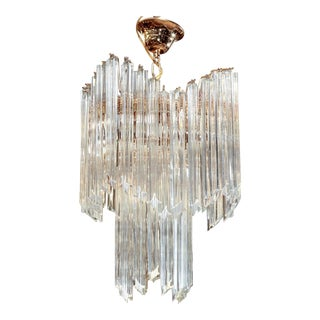 Large Camer Chandelier With Venini Quadriedri Crystal Rods