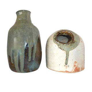 Green Glaze Art Pottery Vases - A Pair