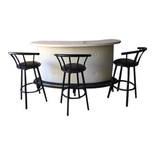 Tufted Mid-Century Bar & Stools - Set of 4