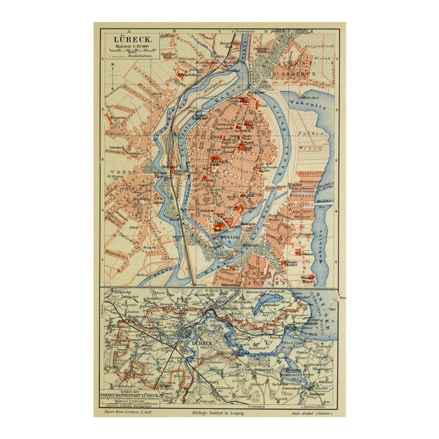Antique Lithograph Map - Lübeck, Germany, 1880 - Image 1 of 4