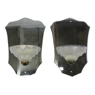 "Beautiful Pair Of French Art Deco Mirror Back Opalescent ""Ezan"" Sconces Circa 1940s."