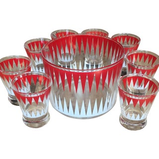 Vintage Red and White Ice Bucket With 8 Glasses