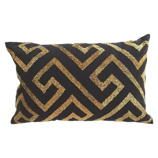 Gold Beaded Black Pillow