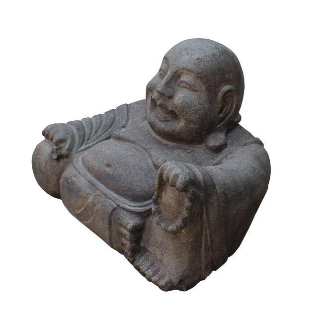 Chinese gray stone carved small sitting happy laughing