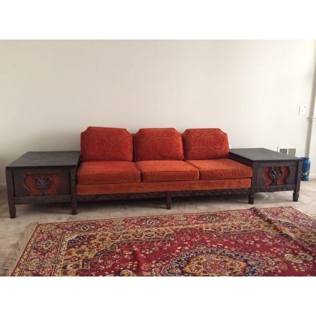 Vintage sofa with attached slate topped end tables chairish for Sectional sofa with table attached