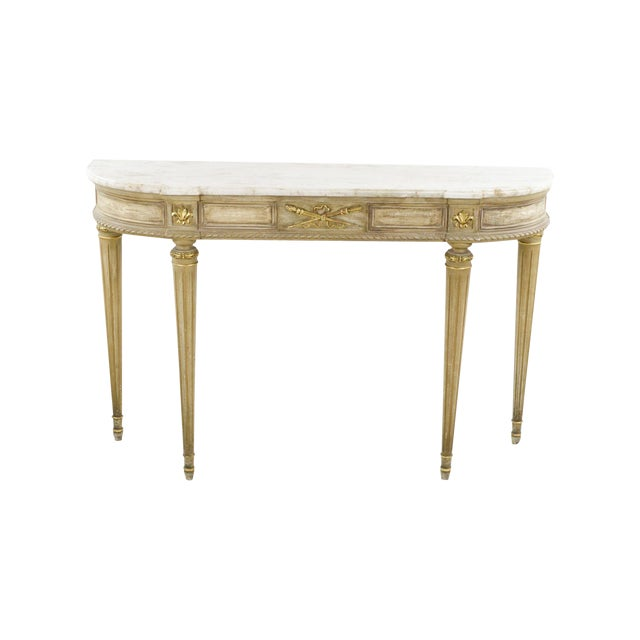 Marble-Topped French Style Console Table - 1940s - Image 1 of 8