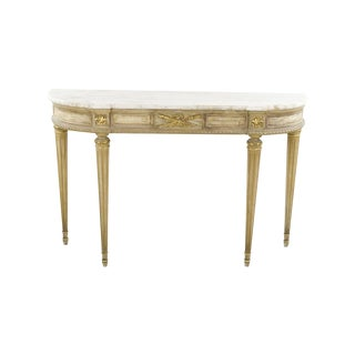 Marble-Topped French Style  Console Table - 1940s