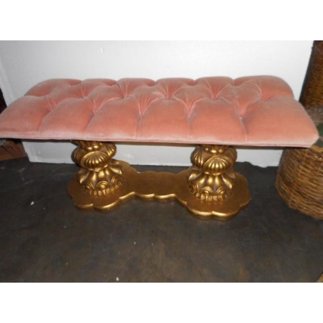 Image of Regency Hollywood Pink Tuft Chair Bench Vanity Stool