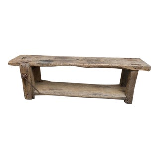 Weathered Elm Woodworker's Bench, French circa 1860