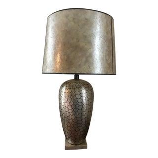 Karl Springer Style Mid-Century Large Metal Table Lamp
