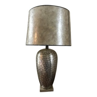 Karl Springer Style Mid-Century Large Metal Table Lamp