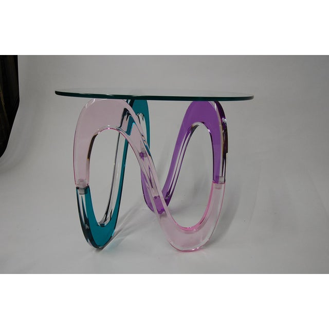 Haziza Memphis Style Multi-Colored Lucite Side Table - Image 10 of 11