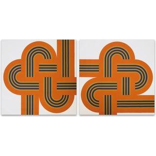 """Orange """"Weave"""" 1970's Supergraphic - Pair"""